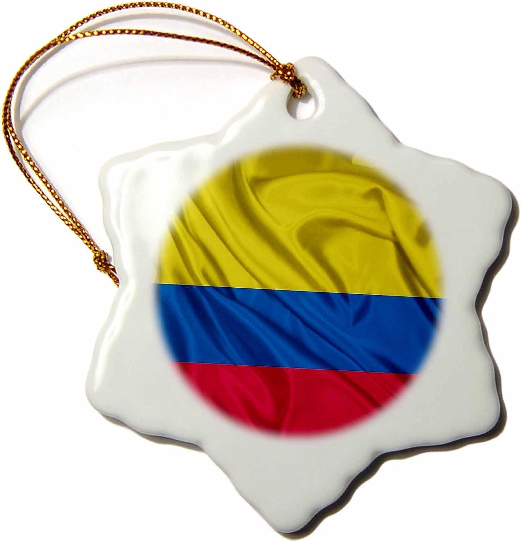 Amazon Com 3drose Orn 28235 1 Colombia Flag Porcelain Snowflake Ornament 3 Inch Home Kitchen