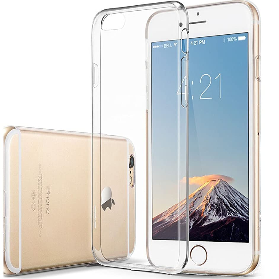 Novo Icon Clear Soft TPU Case Rubber Silicone Skin Cover, Support Wireless Charging for Apple iPhone 6s Plus/6 Plus