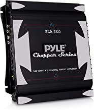 2 Channel Car Stereo Amplifier - 1400W Dual Channel Bridgeable High Power MOSFET Audio Sound Auto Small Speaker Amp w/ Crossover, Bass Boost Control, Gold Plated RCA Input Output - Pyle PLA2200