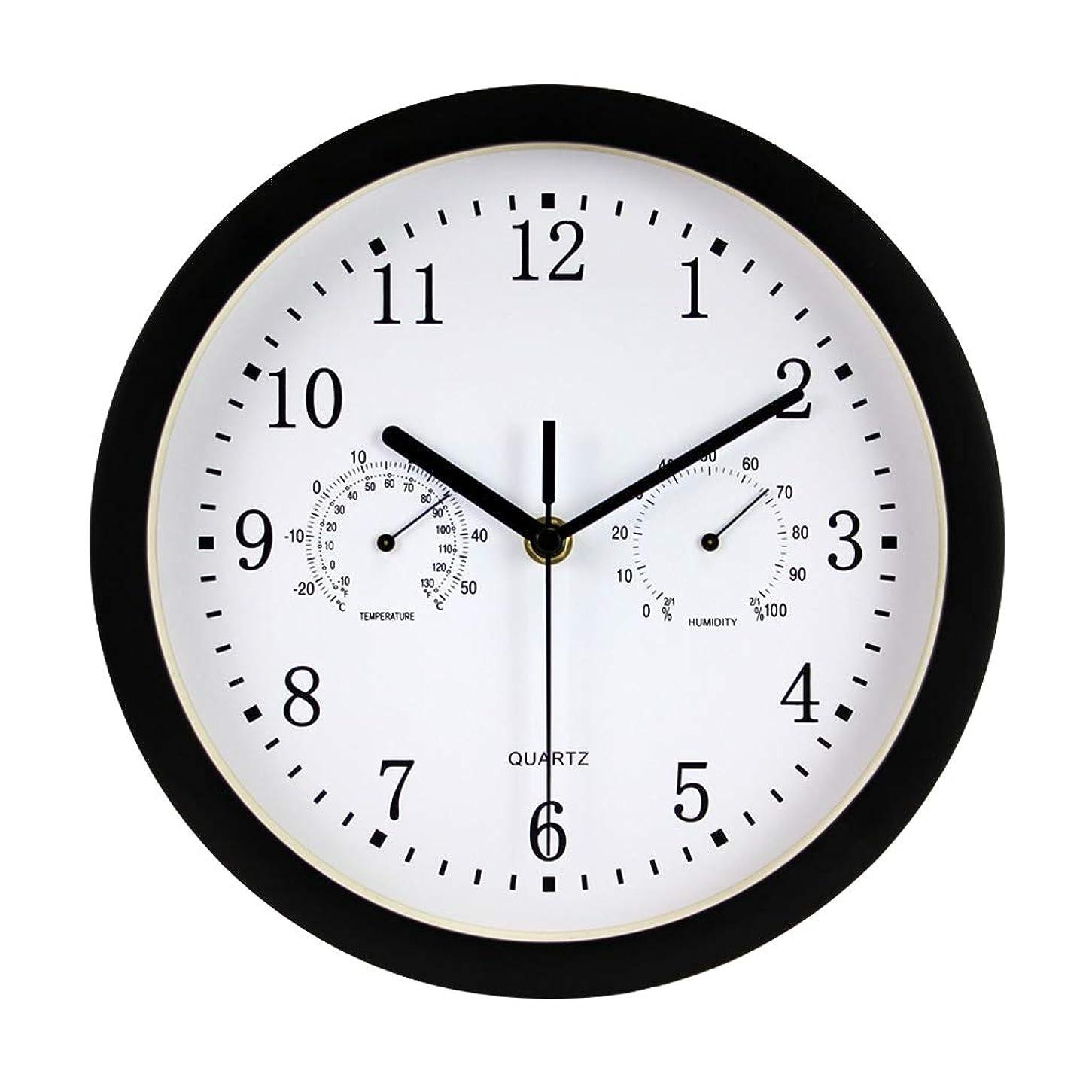 豚アトミック侵入する25 cm室内/屋外サイレントウォールクロック温度計および湿度計浴室用キッチン用の非刻時時計キッチン用ベッドルーム(黒)