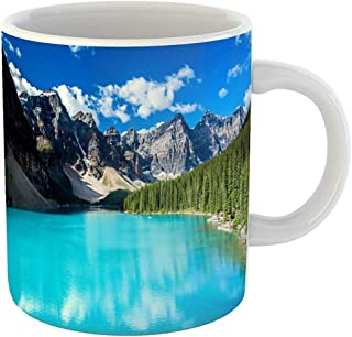 Coffee Tea Mug Gift 11 Oz Funny Ceramic Blue Landscape Moraine Lake in Banff National Park Alberta Canada Colorful Gifts For Family Friends Coworkers Boss Mug