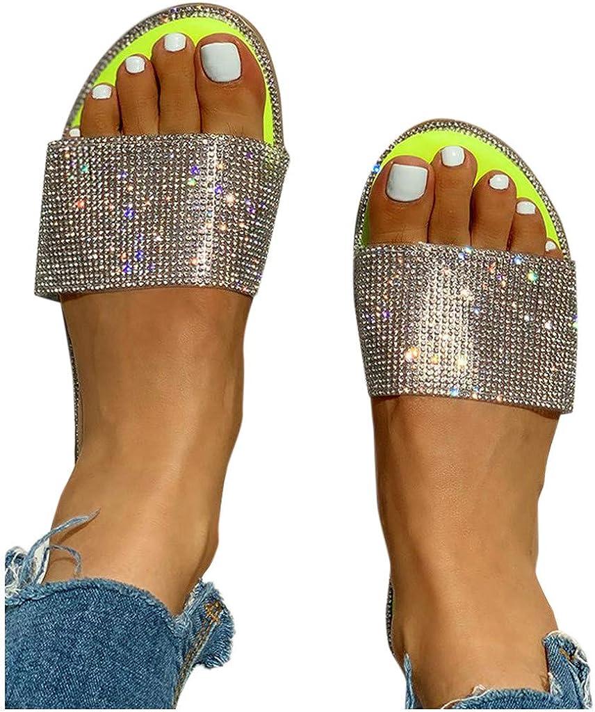 HIRIRI Women's Slippers Glitter Crystal Sandals Roman Style Flat