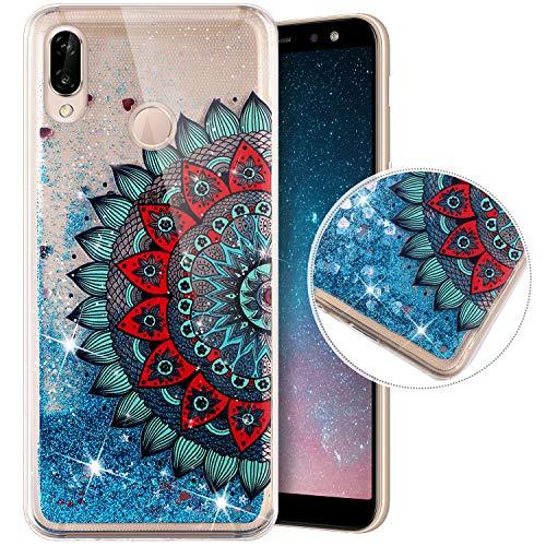 QPOLLY Kompatibel mit Huawei P Smart Z Hülle Glitzer Flüssig Treibsand Glitter Quicksand Handyhülle Gemalt Niedlich Muster Weich Silikon TPU Schutzhülle Tasche für Huawei P Smart Z,Blume