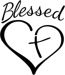 Blessed Cross and Heart Christian Decal Vinyl Sticker|Cars Trucks Vans Walls Laptop |5.5 x 4.5 in| (Black)