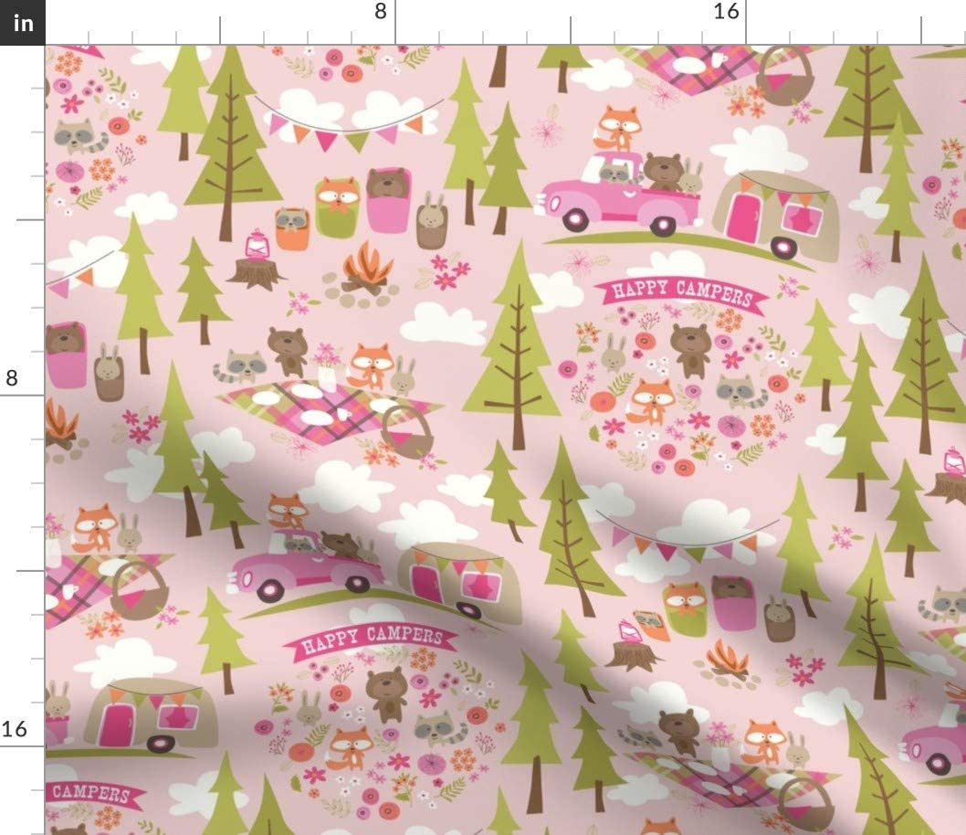 Spoonflower Fabric - Happy Campers Camper Pi Travel ※ラッピング ※ Trailer 宅送 Pink