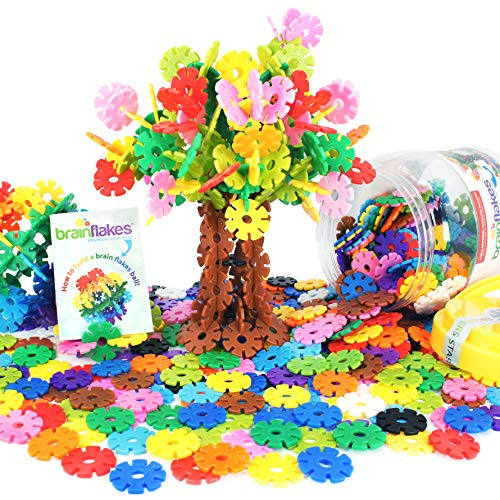 Brain Flakes 500 Piece Interlocking Plastic Disc Set - A Creative and Educational Alternative to Building Blocks - Tested for Children's Safety - A Great Stem Toy for Both Boys and Girls