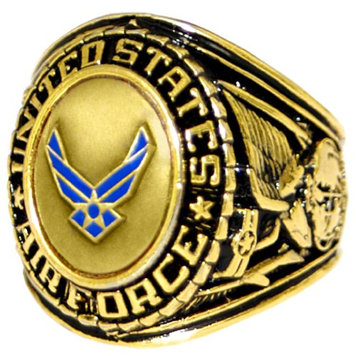 US Air Force Insignia Ring - Bronze Colored Air Force Veteran Ring - Military Collectibles