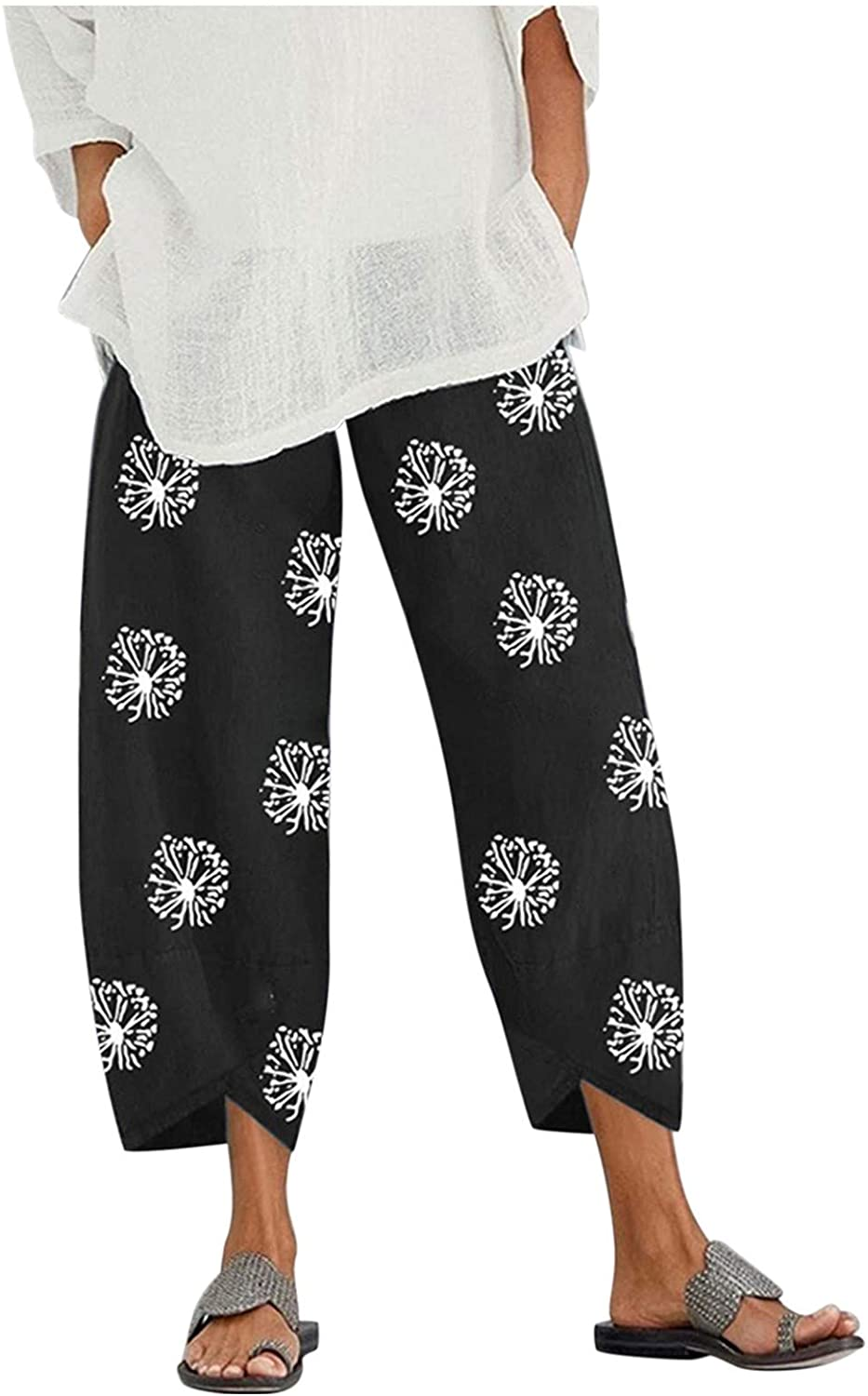 XLLX Womens Casual Pants Capris Embroidery Elastic Waist Comfy Trousers with Pockets