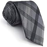 Shlax&Wing Clásico Traje De Negocios Hombre Seda Corbatas Para Gris a cuadros Extra largo
