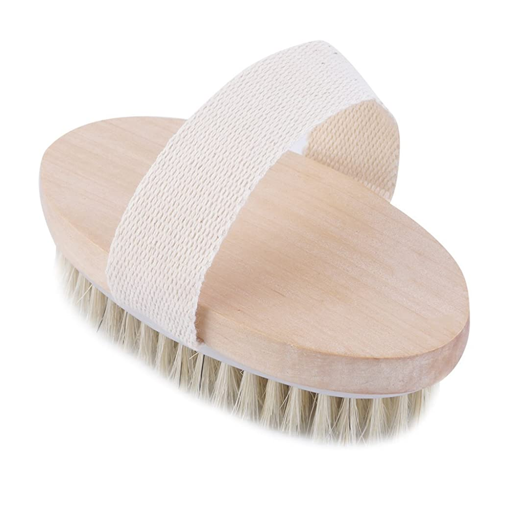 露骨な記念碑残りuzinby 豚毛 天然素材 木製 短柄 ボディブラシ 足を洗う 角質除去 美肌 バス用品