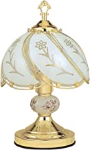 Ore International K313 White Glass Floral Touch Lamp, Brushed Gold
