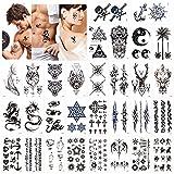 Konsait Tatuajes temporales para adultos Mujer hombre (30 hojas), impermeable Tatuaje Temporal Adhesivos Negro Tatuajes de cuerpo art, Dragón Ancla Escorpión Lobo Gráfico Alce