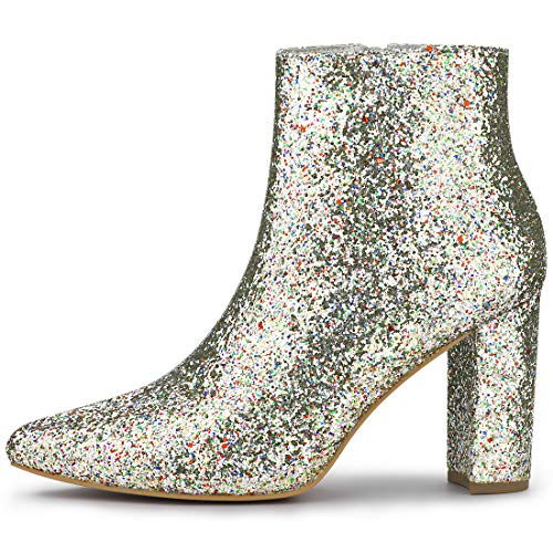 Allegra K Women's Glitter Pointed Toe Chunky Heel Silver Ankle Boots - 5.5 M US