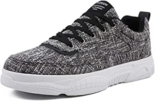 Shangruiqi Fashion Sneakers for Men Skate Shoes Lace Up Linen Cloth Vegan Lightweight Sewing Thread Flat Running Outdoor Casual Round Toe Anti-Wear (Color : Black, Size : 8.5 UK)