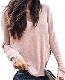 UUGYE Women Shirts Casual Long Sleeve V Neck Waffle Baggy Blouse Top Shirts