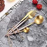Jsx Posate di lusso in Acciaio inossidabile 304, posate da 4 pezzi, Incluso un Set di cucchiai per coltelli da forchetta (Nero e dorato),Rosado