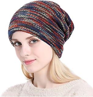 قبعة صغيرة للشتاء DOCILA مختلطة اللون للرجال والنساء فضفاضة دافئة مبطنة بالصوف قبعة الجمجمة نمط فضفاض قبعات تزلج