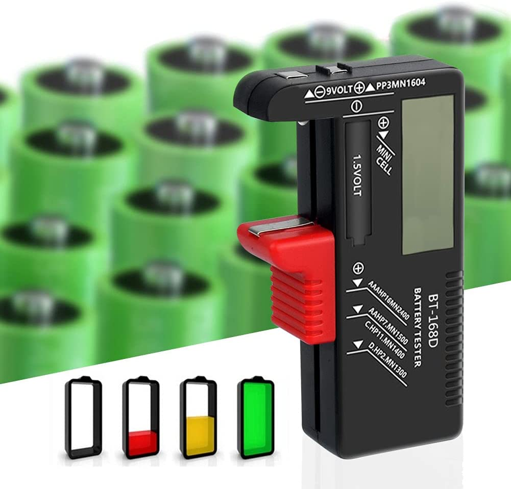 YCDC BT168D Battery Tester Volt Checker Multi Size for AA, AAA, C, D, 9V, 1.5V Batteries Cell Button Batteries