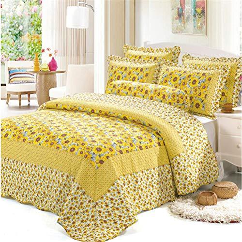 Colchas Cama 135 Girasol Estampada 3 Piezas Amarillo Colcha Bouti Reversible Lavable de 100% algodón Suave y Cómodo 230x250cm
