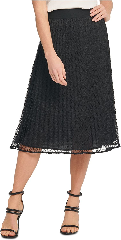 DKNY Womens Mesh Pleated Skirt