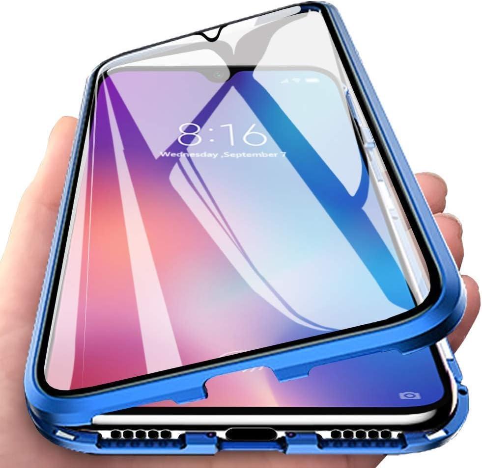 Carcasa para Xiaomi Mi 10 Lite 5G, Magnética Funda [Marco de Metal] [9H Vidrio Templado de Doble Cara] Cubierta 360 Protección Aluminio Parachoques Magnet Case Funda, Azul