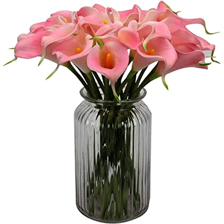 SATYAM KRAFT Artificial Lily Flowers (Pink, 10 Pieces,13.4 Inch (34 cm) × 2.16 Inch (5 cm))