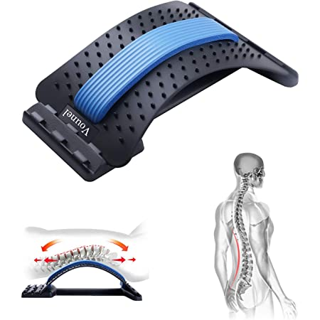 YAMASU Lumbar Back Stretching Device,Back Massager for Bed /& Chair /& Car,Multi-Level Lumbar Support Stretcher Spinal Lower and Upper Muscle Pain Relief