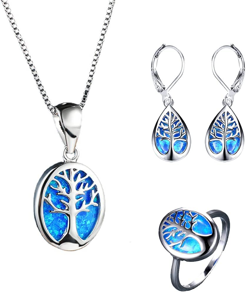 Tree of Life Jewelry Max 81% OFF Set 925 and Discount is also underway Silver Necklace Opal Sterling