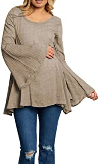 GAOXINGQU Women's Casual Bell Sleeve Solid Color O-Neck Pleated T-Shirt (Color : Khaki, Size : 5XL)