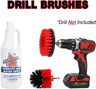 Bring It On Cleaner Water Spot Remover Plus 2 Drill Brushes, Clean Tile, Cleaning Drill Scrub Brush, Cleaning Brush For Drill, Drill Brush Attachment (32 oz)