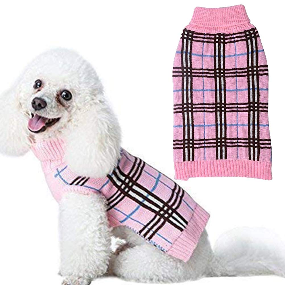 Dog Sweater Plaid Winter Clothes for Dogs Puppy Boys Girls
