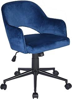MEUBLE COSY MEUBLE COSY Chaise de Bureau Ergonomique avec Accoudoirs Fauteuil Ordinateur Hauteur Réglable Velours Bleu et ...