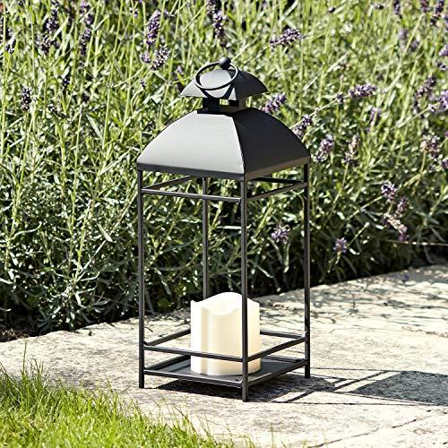 Lights4fun - Lanterna in Metallo Nero con Candela LED a Pile per Interni ed Esterni