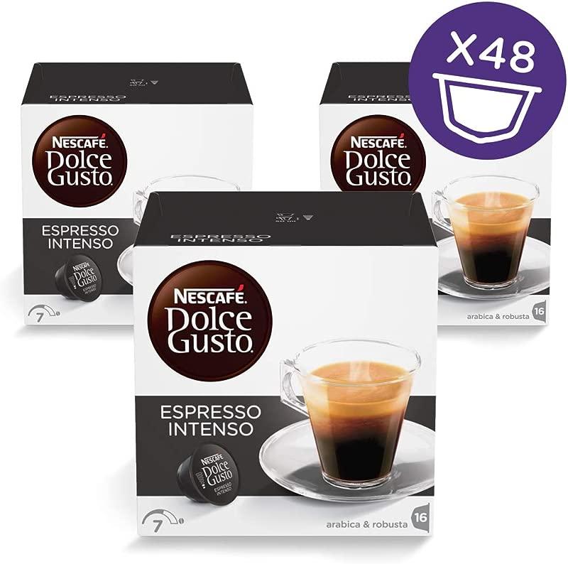 NESCAF Dolce Gusto Coffee Capsules Espresso Intenso 48 Single Serve Pods Makes 48 Cups 48 Count