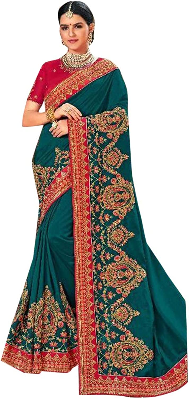 Sacramento Designer Reception wear Satin Silk Sari for Women Indian Zari work Saree with Blouse 7635