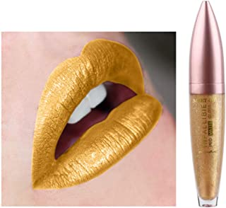 Kisshine Matte Lip Stick Metallic Lipstick Christmas Shimmer Matte Lip Color Cosmetics Makeup Gift for Women and Girls (Gold 108#)