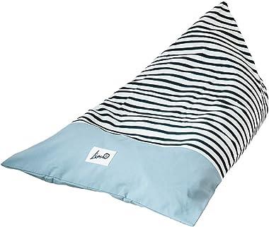 Liou Pouf poire pour enfants et adultes en coton bio, 110 x 70 x 60 cm, couleur : Bleu