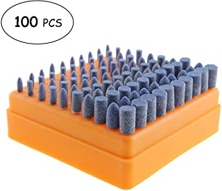 Unigift 100PCS Of 3MM Pole 4-10mm Blue Polishing Grinding Head Abrasive Mounted Stone Drill Bit Set for Engraving Cutting Buffing Suit