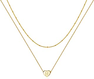 14K Gold Letter Necklace for Women Dainty Personalized Layered Initial Heart Choker Necklace Jewelry Gift