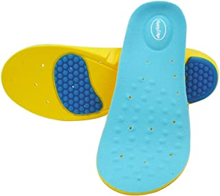 Happystep® full-length Memory Foam Gel Insoles provide cushioned arch support and excellent shock absorption with gel pads under the heel and forefoot (1 Pair), Size: Men 6-8 or Women 7.5-9.5)