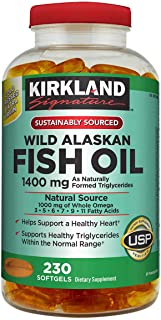 Kirkland Signature Kirkland Signature Wild Alaskan Fish Oil 1400 mg Dietary Supplement (Netcount 230 Soft Gels),, 230Count ()