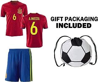 Kitbag Spain Iniesta #6 / ISCO #22 Youth Home Soccer Jersey & Shorts Kids Premium Gift Bonus Soccer Ball Drawstring Backpack