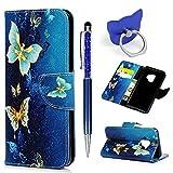 Hülle für Samsung Galaxy S9 Badalink Blau Schmetterling Handyhülle Leder PU Cover Magnet Flip Hülle Schutzhülle Kartensteckplätzen & Ständer Handytasche mit Eingabestifte & Ringschnalle