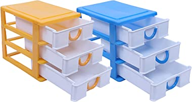 Kuber Industries Plastic 2 Pieces Three Layer Drawer Storage Cabinet Box (Yellow & Blue)-CTKTC13082