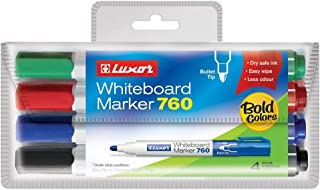 Luxor Dry Erase White Board Marker Bullet Tip Assorted Colours (Pack of 4)