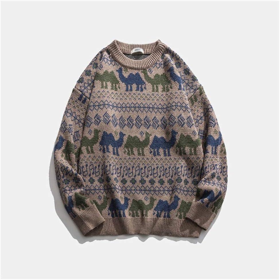 JJSPP Youth Men Christmas Sweater Pullover Harajuku Oversized Sweater Korean Winter Designer Oversized Clothes (Color : Khaki, Size : 2XL-length-72CM)