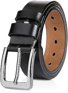 DORRISO Moda Cintura in Pelle Vera da Uomo con Fibbia in Cuoi per Jeans Pantaloni Casual Vestiti da Business 145CM 155CM 1...