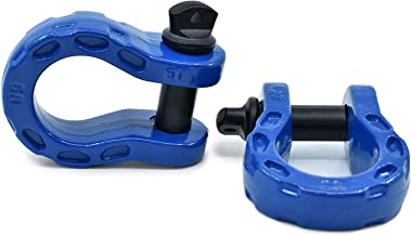 GearAmerica Mega Duty D Ring Shackles Blue (2PK) | 68,000 lbs (34 Ton) Tested Strength | 3/4