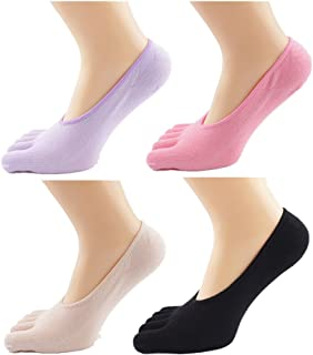 Lucktao 婦人5本指ソックス 5色5足セット くるぶしソックス  水虫予防 五本指カバーソックス 爽やかな靴下 かわいいデザイン ストッキング ショートソックス  インビジブル ソックス フットカバー 靴下