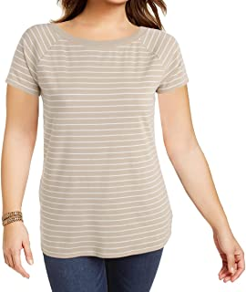 Striped Off-The-Shoulder Tee Top (1X, Pale Wheat/Herbal Milk)